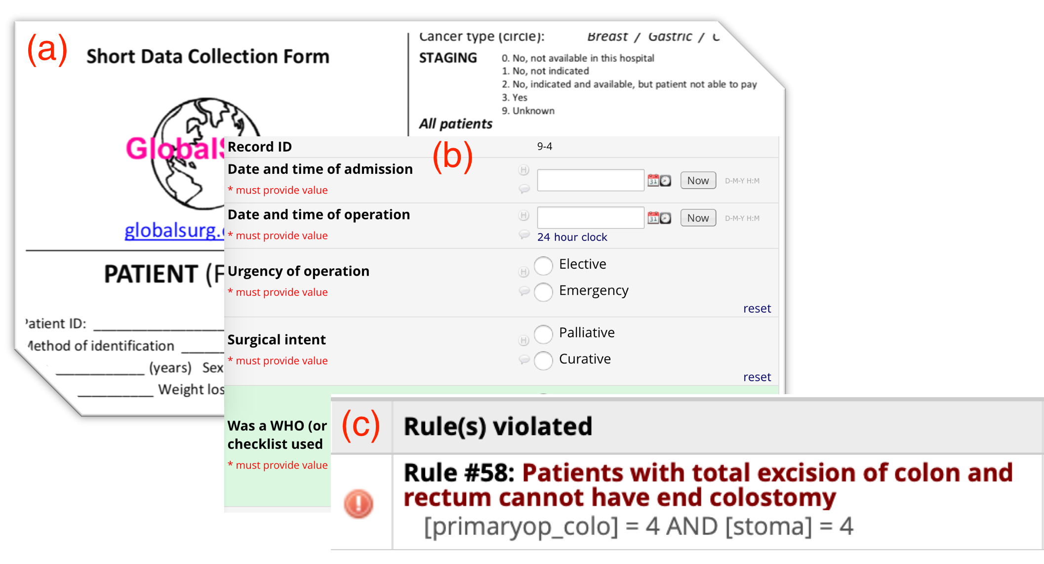 Figure 1. Examples of our (a) paper data collection form, (b) REDCap interface, and (c) a data quality pop-up warning.